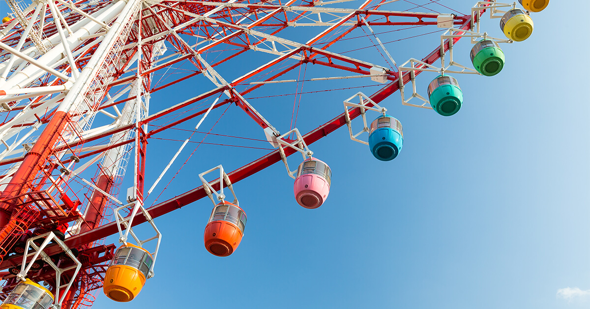 This Ferris wheel represents a more traditional color wheel.